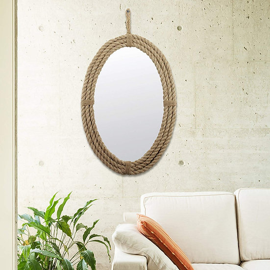 Oval Wrapped Rope Mirror with Hanging Loop, Vintage Nautical Desi