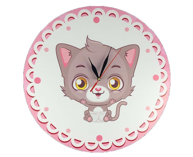 Kitten Wall Clock for Kids