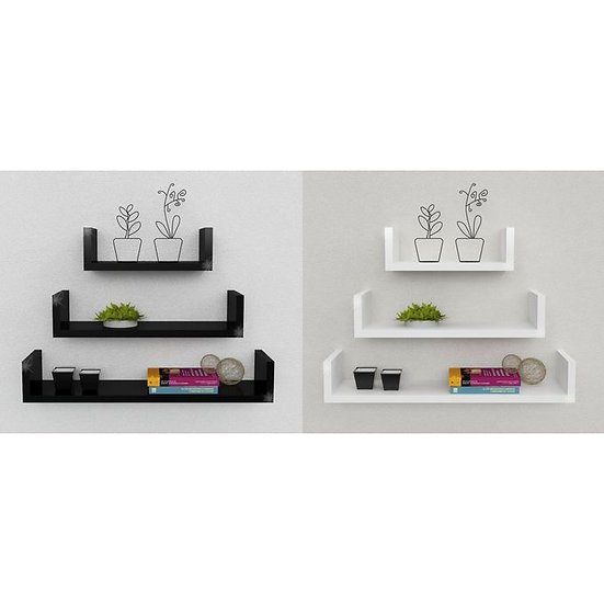 Modern Decor UShelf- Black&white