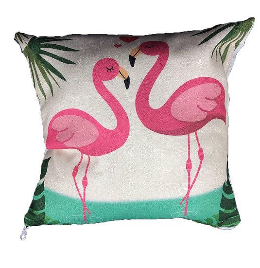 Flamingo Cotton Linen Square Cushion Covers