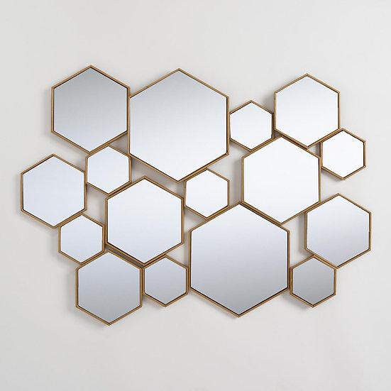 Brass Metal Hexagon Mirror Panel