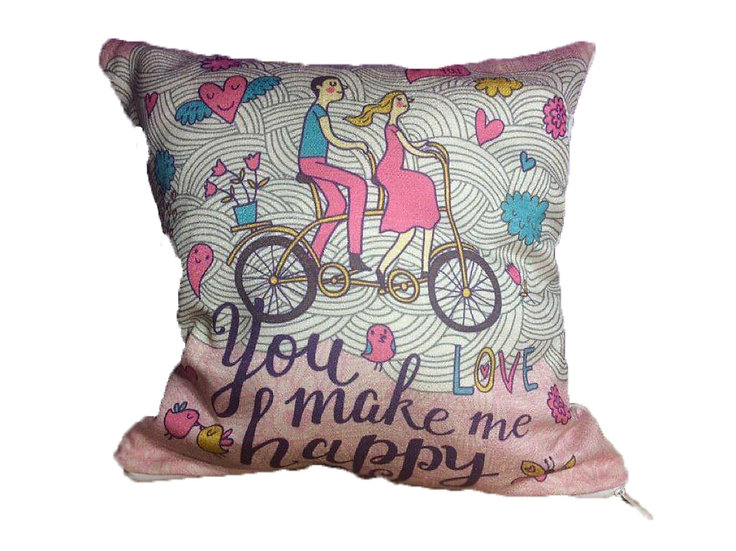 You Make Me Happy Cotton Linen Square Cushion Covers