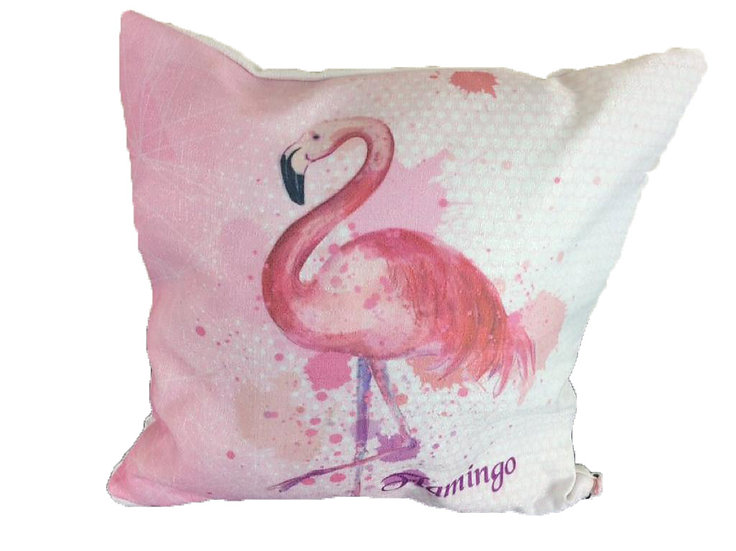Watercolor Flamingo Cotton Linen Square Cushion Covers