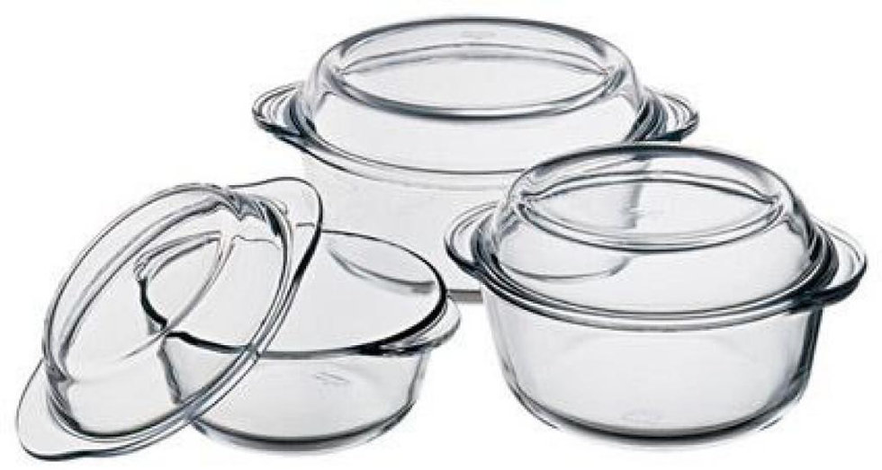 Pasabahce Glass Borcam 6 Piece Casserole Set with Cover - Clear