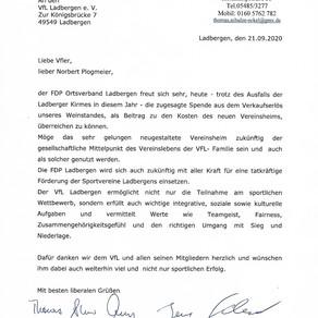 FDP Ortsverband Ladbergen spendet für das Abpfiff