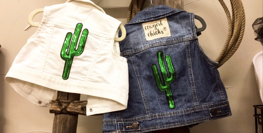 ONE OF A KIND DENIM CACTUS VEST
