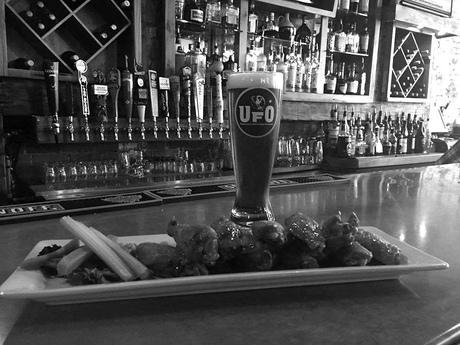 bar, chicken wings, & beer