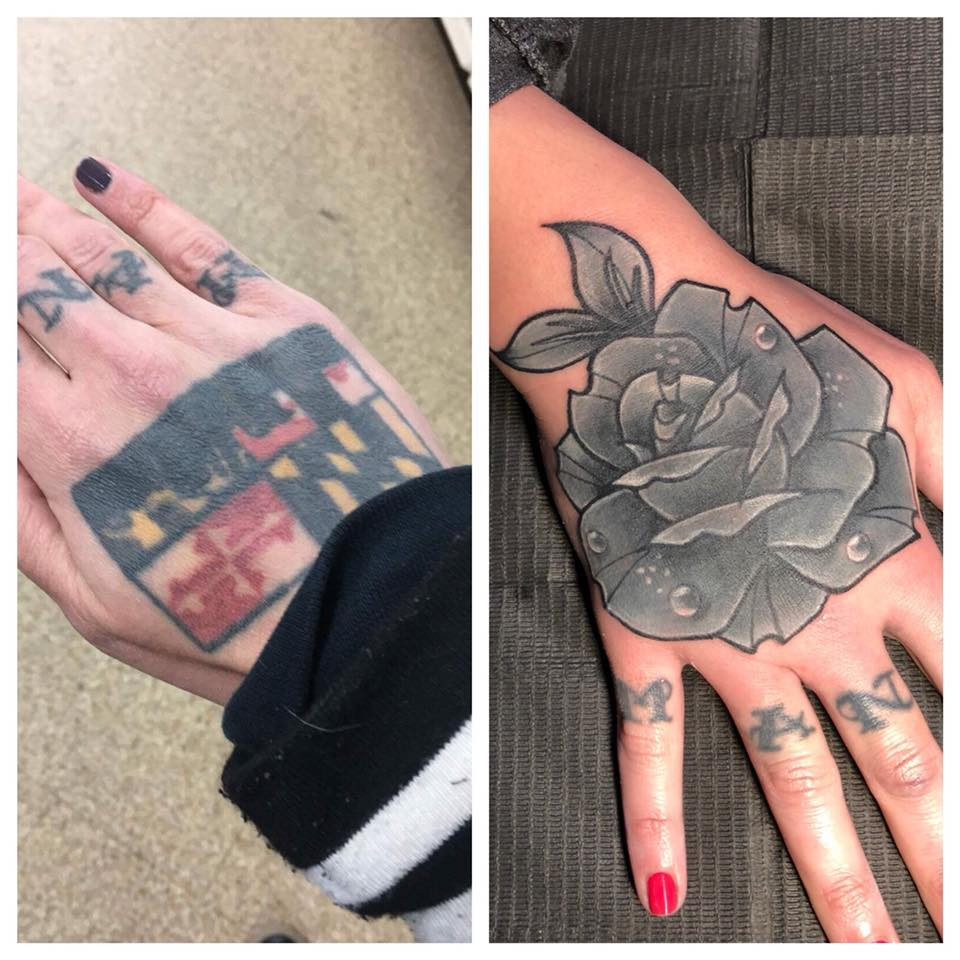 Before and after of a old hand tattoo coverup