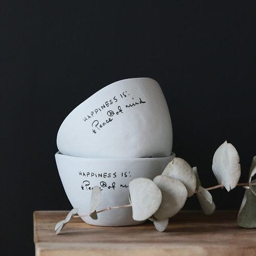 Duo de bols wabi-sabi à message