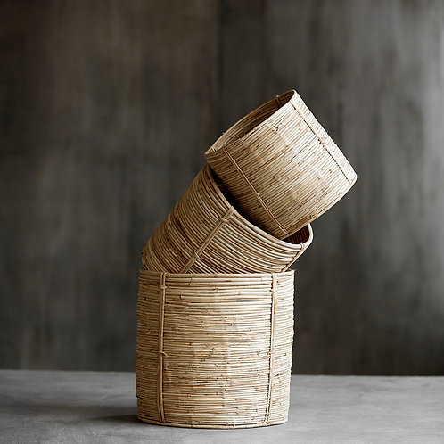 Trio de paniers rotin/bambou