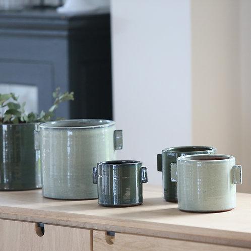 Cache-pot en céramique vert de gris - 2 tailles