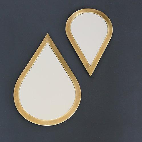 Duo de miroirs gouttes dorés