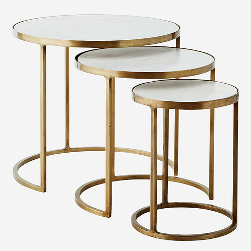Trio tables gigogne en marbre