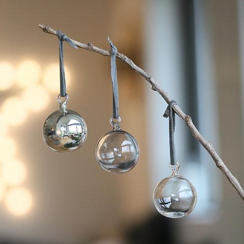 Trio de boules de Noël en verre soufflé - 2 tailles