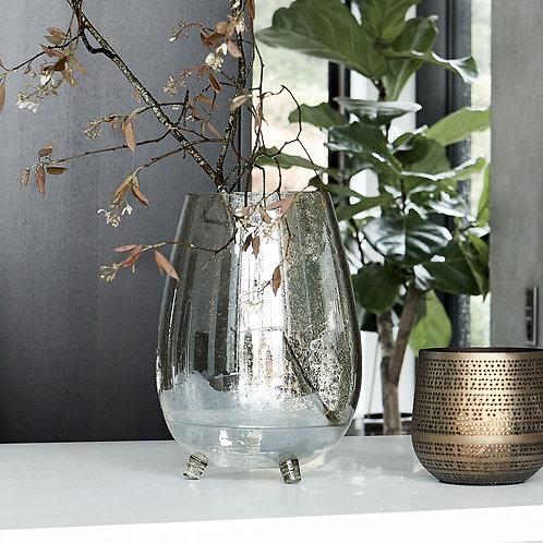 Vase sur pied en verre teinté