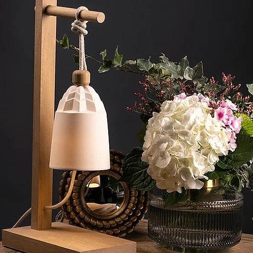 Lampe de table porcelaine & chêne