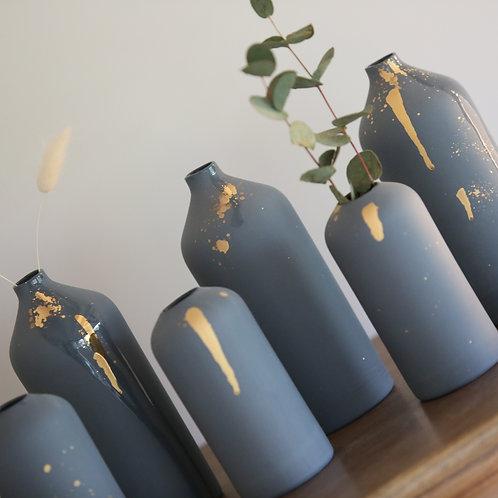 Vase porcelaine gris orage & or - Epure - 2 tailles
