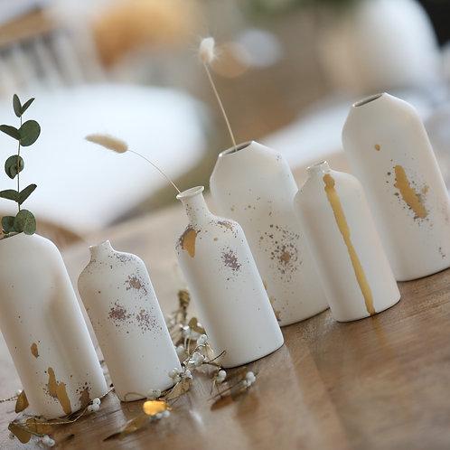 Vase porcelaine blanc & or - Epure - 2 tailles
