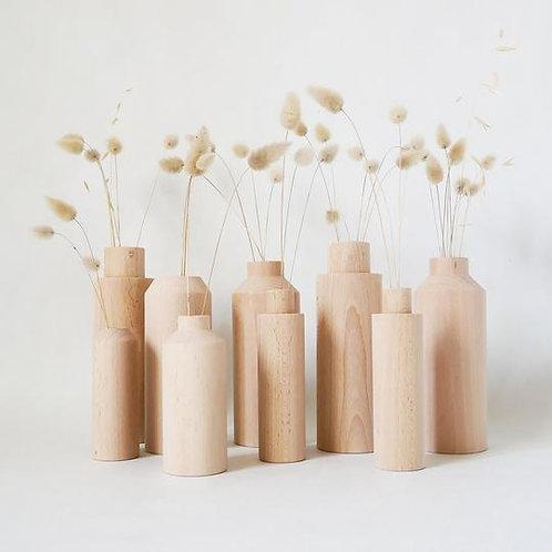 Trio de vases en bois de hêtre
