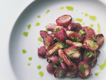 Garlic Roasted Radishes with Scallion oil drizzle