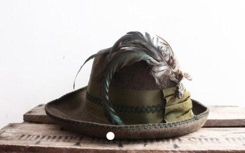 Sombrero Pluma Vintage 1970 Unisex