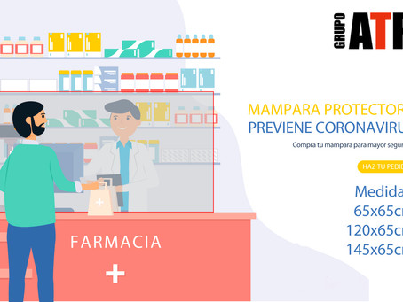 Protector mostrador metacrilato Coronavirus