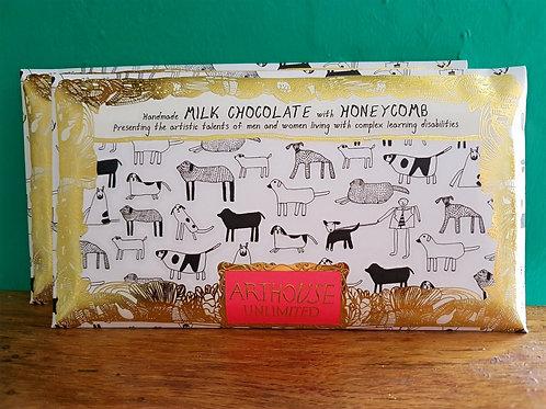 Handmade milk chocolate with honeycomb
