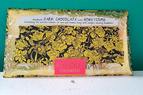 Handmade dark chocolate with honeycomb
