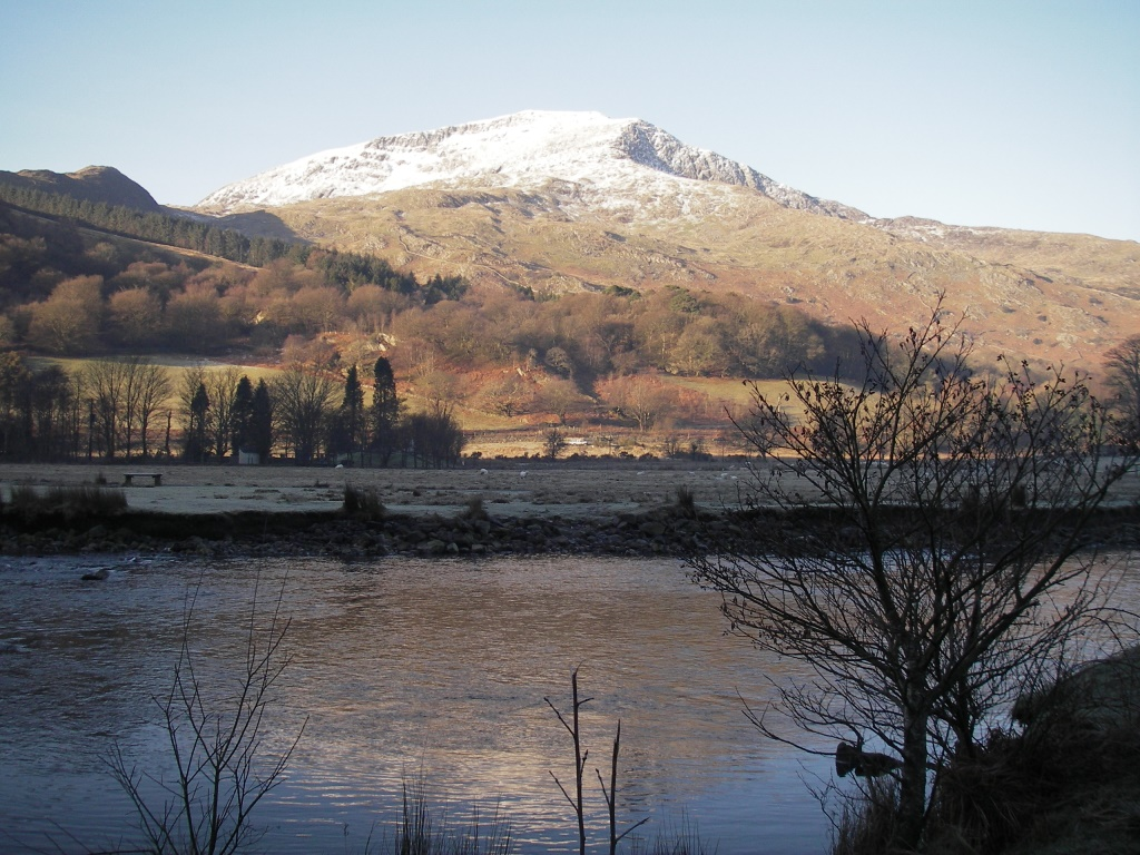 Moel Hebog from riverside path