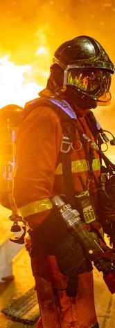 Fireman in front of a street fire - 28 n