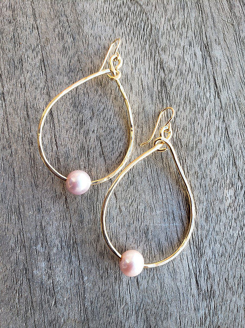 Large 14k Gold Filled  Teardrop Pearl Earrings.