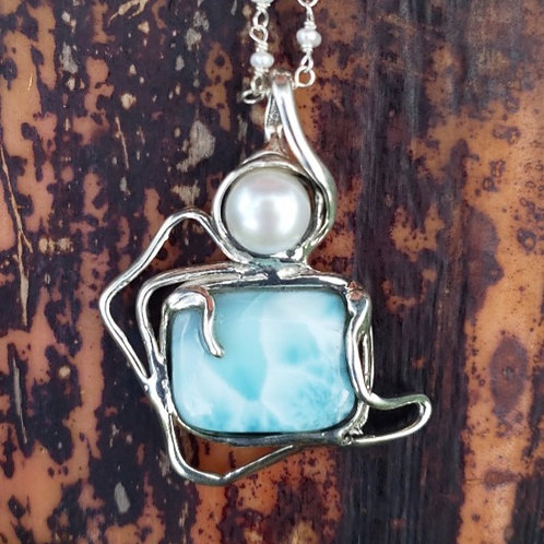 Free Form Larimar and White Pearl