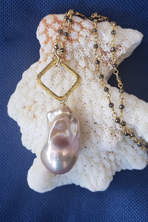 Gold  Flame Pearl Necklace