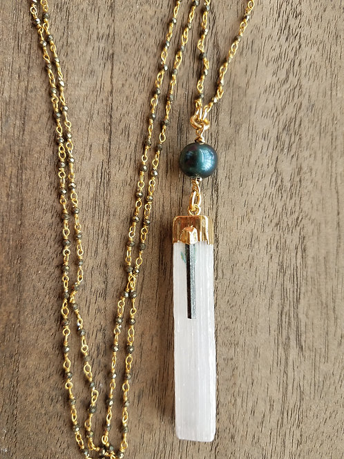 Liquid Light  and Teal Pearl Necklace