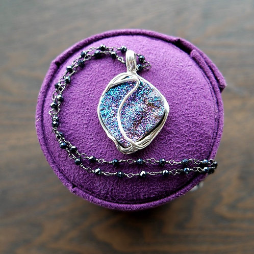 Diamond  Shaped Purple Drusy Pendant