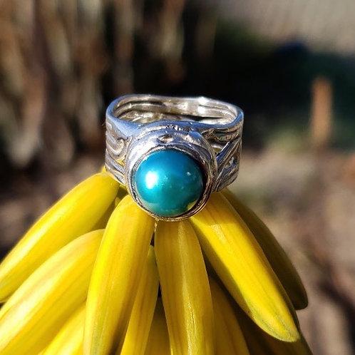 Wideline Teal Pearl Ring