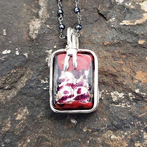 Murano Red Leopard Glass Pendant