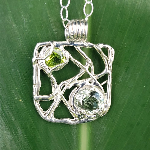 Lava Flow Square Prasiolite Prasolite and Peridot Pendant
