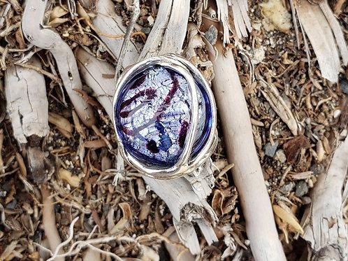 Purple Murano Glass Wave Ring