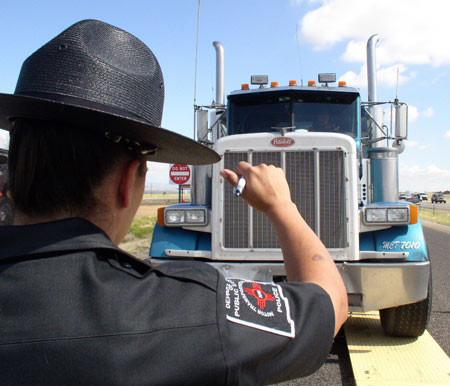 Trucker Going Through a Roadcheck
