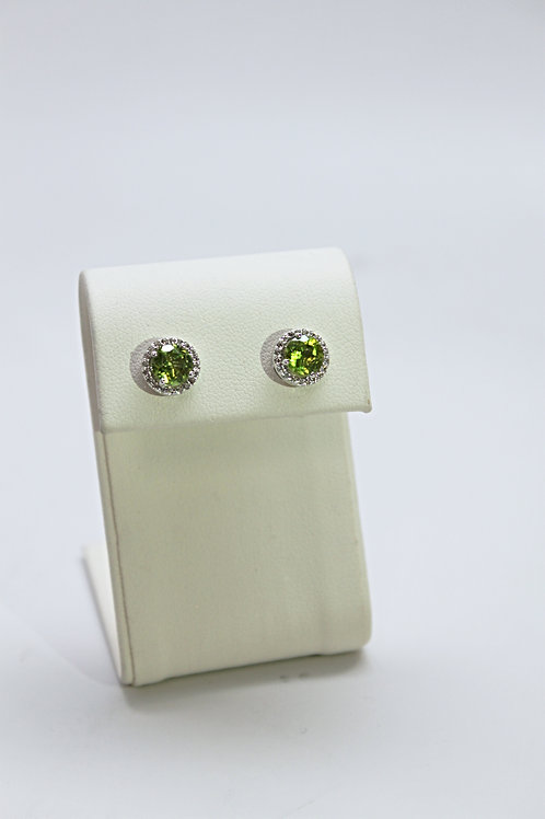Peridot Stud Earrings With Accents