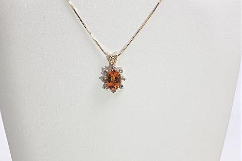 Sunflower Pendant W/Orange Citrine & White Sapphires
