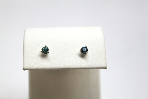 Green Blue Sapphire Stud Earrings
