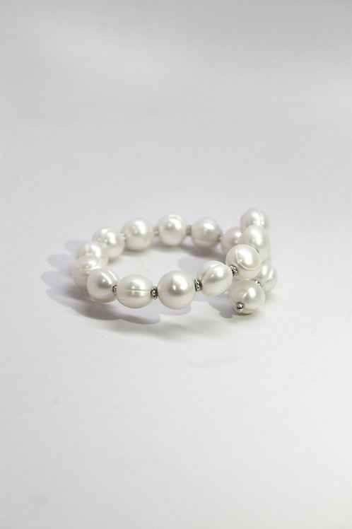 Round Pearl Bangle Bracelet