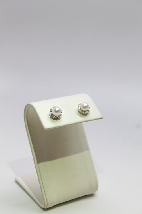 Pearl Studs With Diamond Halo