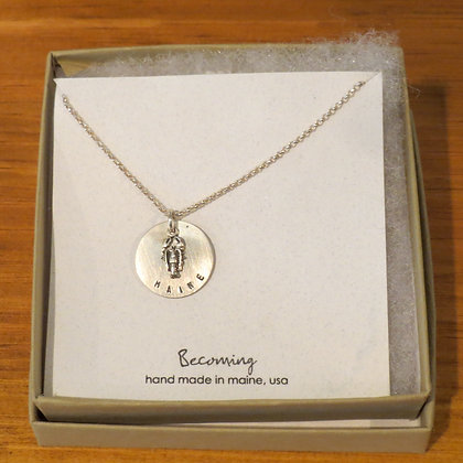 Becoming Maine Lobster silver necklace