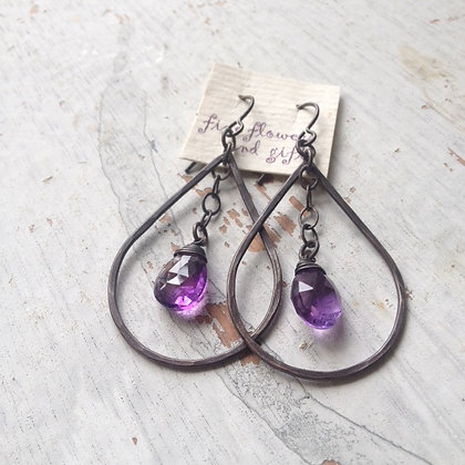Lotus Amethyst Teardrop Earrings
