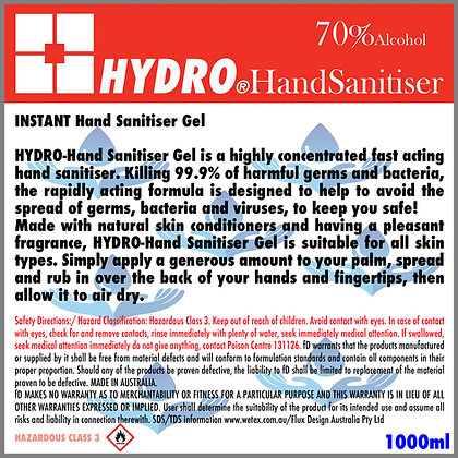 2x HYDRO Instant Hand Sanitiser Gel -1 liter
