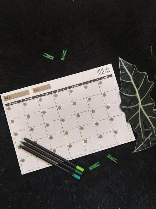 Bloco de planejamento mensal