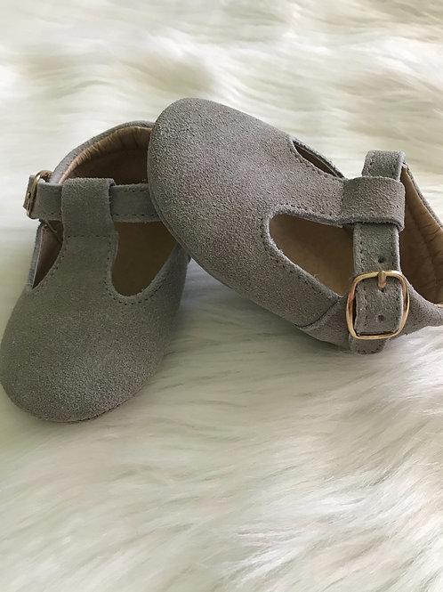 Grey suede t-straps
